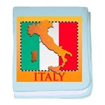 Italy Map with Flag baby blanket