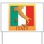 Italy Map with Flag Yard Sign