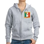 Italy Map with Flag Women's Zip Hoodie