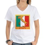 Italy Map with Flag Women's V-Neck T-Shirt