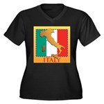 Italy Map with Flag Women's Plus Size V-Neck Dark