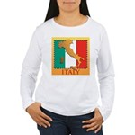 Italy Map with Flag Women's Long Sleeve T-Shirt
