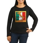 Italy Map with Flag Women's Long Sleeve Dark T-Shi