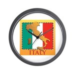 Italy Map with Flag Wall Clock