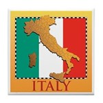 Italy Map with Flag Tile Coaster