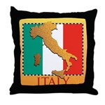 Italy Map with Flag Throw Pillow