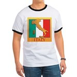 Italy Map with Flag Ringer T