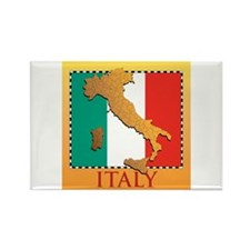 Italy Map with Flag Rectangle Magnet