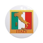 Italy Map with Flag Ornament (Round)
