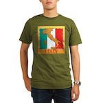 Italy Map with Flag Organic Men's T-Shirt (dark)