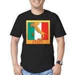Italy Map with Flag Men's Fitted T-Shirt (dark)