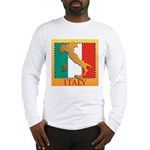 Italy Map with Flag Long Sleeve T-Shirt