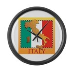 Italy Map with Flag Large Wall Clock