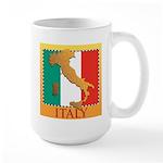 Italy Map with Flag Large Mug