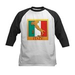 Italy Map with Flag Kids Baseball Jersey