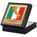 Italy Map with Flag Keepsake Box