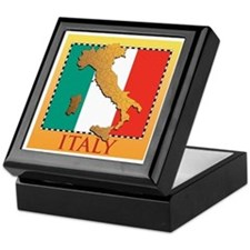 Italy Map with Flag Keepsake Box