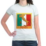 Italy Map with Flag Jr. Ringer T-Shirt