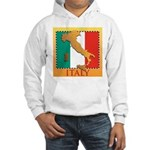 Italy Map with Flag Hooded Sweatshirt