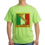 Italy Map with Flag Green T-Shirt