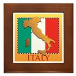 Italy Map with Flag Framed Tile