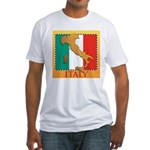 Italy Map with Flag Fitted T-Shirt