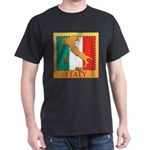 Italy Map with Flag Dark T-Shirt