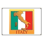 Italy Map with Flag Banner