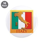 """Italy Map with Flag 3.5"""" Button (10 pack)"""