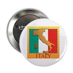 """Italy Map with Flag 2.25"""" Button"""