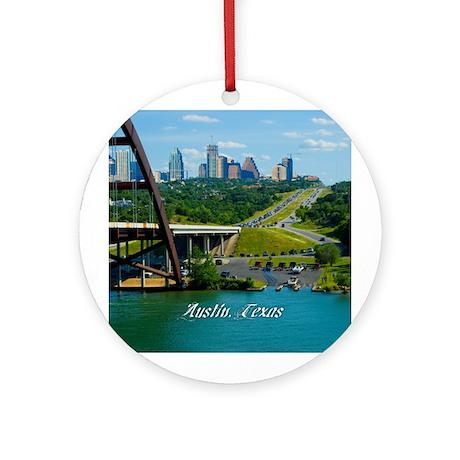 Austin Texas Skyline Bridge Ornament (Round)