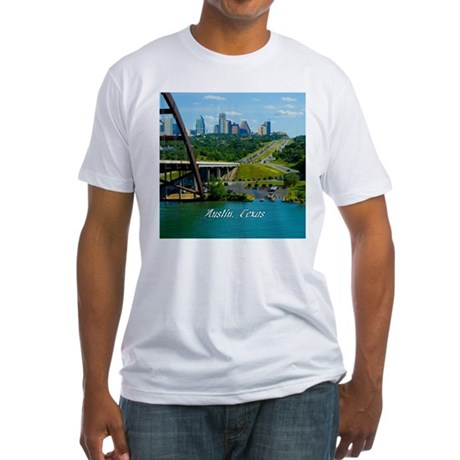 Austin Texas Skyline Bridge Fitted T-Shirt