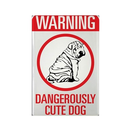 """Beware Cute Dog"" Rectangle Magnet"