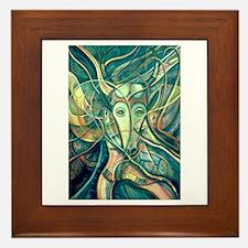 African Antelope Green Framed Tile
