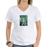 African Antelope Green Women's V-Neck T-Shirt
