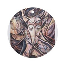African Antelope Ivory Ornament (Round)