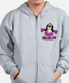 Fibromyalgia Fighting Penguin Zip Hoodie