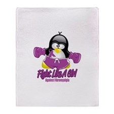 Fibromyalgia Fighting Penguin Throw Blanket