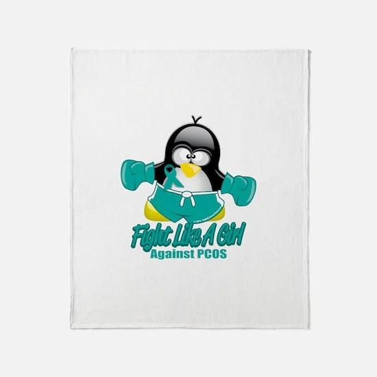 PCOS Fighting Penguin Throw Blanket