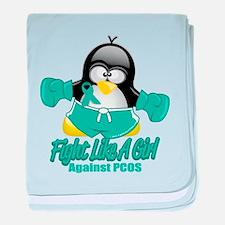 PCOS Fighting Penguin baby blanket