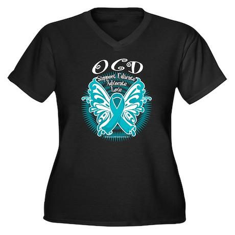 OCD Butterfly 3 Women's Plus Size V-Neck Dark T-Sh