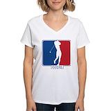Women golfing Womens V-Neck T-shirts