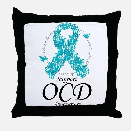 OCD Ribbon of Butterflies Throw Pillow