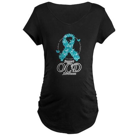 OCD Ribbon of Butterflies Maternity Dark T-Shirt