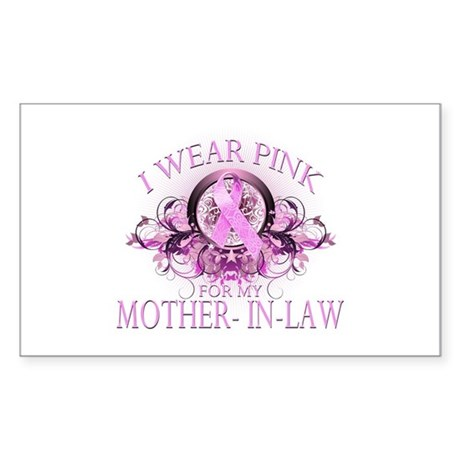 I Wear Pink for my Mother In Law (floral) Sticker