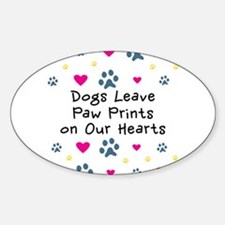 Dogs Leave Paw Prints Sticker (Oval)