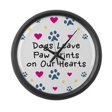 Dogs Leave Paw Prints Large Wall Clock