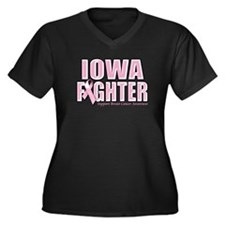 Iowa Breast Cancer Fighter Women's Plus Size V-Nec