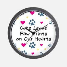 Cats Leave Paw Prints Wall Clock