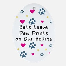 Cats Leave Paw Prints Ornament (Oval)